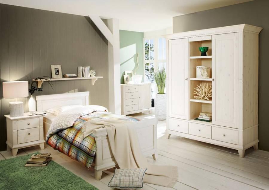 Schlafzimmer Georgia Lmie Kiefer weiß-günstig | Einzelbett