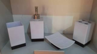 Badezimmer Set 4tlg. - weiß / schwarz günstig online kaufen