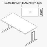 Röhr Techno | Schreibtisch mit Rechteckplatte und...