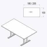 Röhr Techno   Konferenztisch mit Rechteckplatte - 180 cm oder 200 cm
