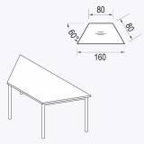 Röhr Techno   Konferenztisch Trapezplatte mit 4-Fuß-Gestell - Typ 299 - 160 cm