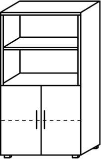 Röhr Objekt.Plus   Aktenschrank 4OH, 2 offene Fächer, 2 Türen, 80 cm breit