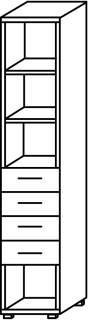 Röhr Objekt.Plus   Aktenschrank 6OH, 4 Schubkästen, 4 offene Fächer, 40 cm breit