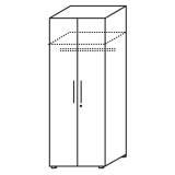 Röhr Objekt.Plus | Kleiderschrank 6OH, 2 Türen, 1 Schloss, 1 Kleiderstange, 60 cm tief, 80 cm breit