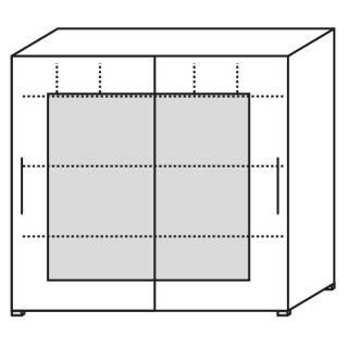 Röhr Objekt.Plus | Schwebetürenschrank 4OH, 2 Frontrahmentüren, 3 Ordner Fächer, 160 cm breit