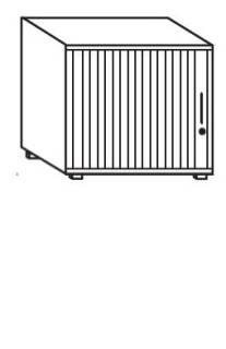 Röhr Objekt.Plus   Jalousieschrank 2OH, Korpus Weiß, Jalousie weiß, Griff rechts, 80 cm breit