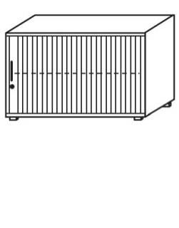 Röhr Objekt.Plus   Jalousieschrank 2OH, Korpus Weiß, Jalousie weiß, Griff links, 120 cm breit