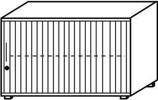 Röhr Objekt.Plus | Jalousieschrank 2OH, Korpus weiß, Jalousie alufarbig, Griff links, 120 cm breit