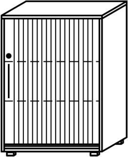 Röhr Objekt.Plus | Jalousieschrank 3OH, Korpus weiß, Jalousie alufarbig, Griff links, 80 cm breit