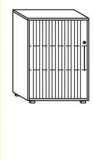 Röhr Objekt.Plus   Jalousieschrank 3OH, Korpus weiß, Jalousie alufarbig, Griff rechts, 80 cm breit
