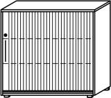 Röhr Objekt.Plus   Jalousieschrank 3OH, Korpus weiß, Jalousie alufarbig, Griff links, 120 cm breit