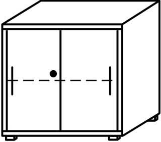 Röhr Objekt.Plus   Aktenschrank 2OH, 2 Schiebetüren, 1 Schloss, 80 cm breit