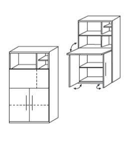 Röhr Techno | Laptop-Box, unten 2 Türen (2 OH), 1 Schreibklappe (2 OH mit Einteilung)