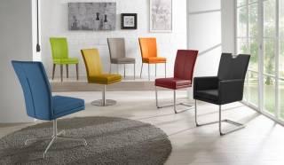 Niehoff Sitzmöbel | COLORADO Stuhlsystem - Schwingstuhl Flachstahl Edelstahl mit Armlehnen und mit Griff in Edelstahl oder Holz