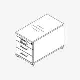 Röhr Techno | Rollcontainer 538 inkl. Schloss, 1 Materialfach, 3 Schubkästen / 75% Teilauszug