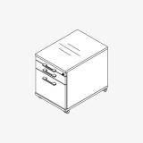 Röhr Techno | Rollcontainer 549 inkl. Schloss, 1 Materialfach, 1 SK, 1 Hängereg.-Auszug / 75% Teilauszug