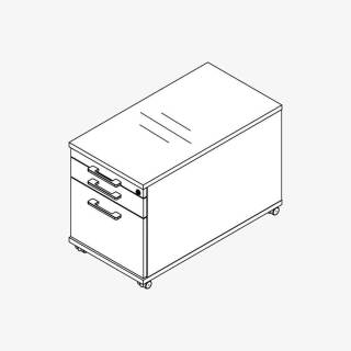 Röhr Techno | Rollcontainer 539 inkl. Schloss, 1 Materialfach, 1 SK, 1 Hängereg.-Auszug / 75% Teilauszug
