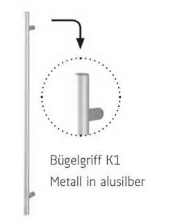 Röhr - Bügelgriff K1 - Metall in alusilberfarbig