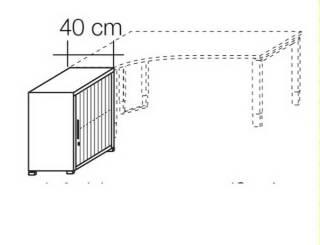Röhr Objekt.Plus | Anstellschrank mit Jalousiefront 2OH, Korpus Weiß, Jalousie Weiß, 40 cm tief