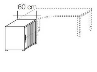 Röhr Objekt.Plus   Anstellschrank mit Jalousiefront 2OH, Korpus Weiß, Jalousie Weiß, 60 cm tief