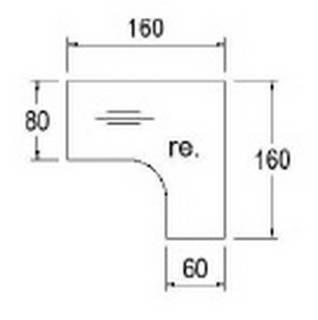 Röhr Techno   Freiformschreibtisch mit 4-Fuß-Gestell und Seitentiefe 80/60 cm, 160 cm Breite