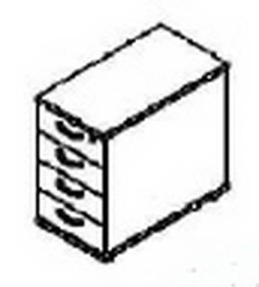 Röhr Techno | Anstellcontainer 593 mit Steckfüßen zur Höheneinstellung / 75% Teilauszug