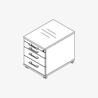 Röhr Techno   Rollcontainer 548 inkl. Schloss, 1 Materialfach, 3 Schubkästen / 75% Teilauszug
