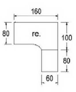 Typ B60r - Rechts / 160,0 cm / Weiss
