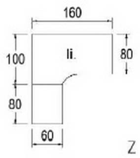 Typ B61l - Links / 160,0 cm /  Weiss