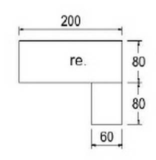 Typ E56r - Rechts anbaubar / 200 cm breit