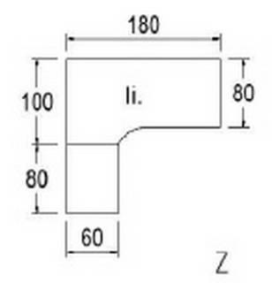 Typ B85l - Links / 180,0 cm / Weiss