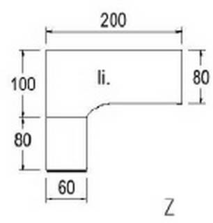 Typ B87l - Links / 200,0 cm / Weiss